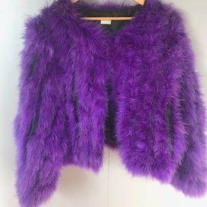 100% real Maribou Feather Purple Jacket